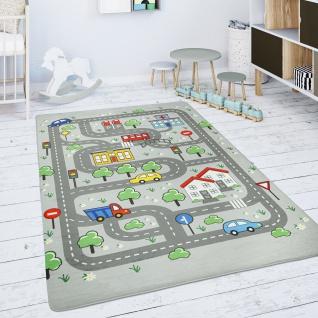 Kinderteppich Teppich Kinderzimmer Spielmatte Spielteppich Straßenteppich Grau