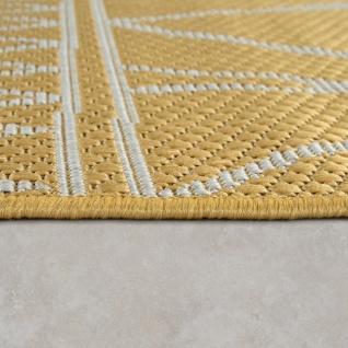 In- & Outdoor Flachgewebe Teppich Modern Ethno Muster Zickzack Design In Gelb - Vorschau 2