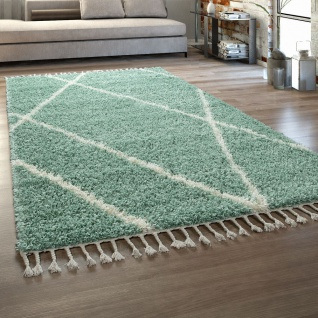 Wohnzimmer Teppich Grün Hochflor Skandi Design Rauten Muster Shaggy Weich