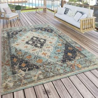 In- & Outdoor-Teppich Für Balkon U. Terrasse M. Orient-Design, Kariert In Türkis