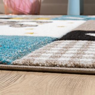 Kinderteppich Kinderzimmer Konturenschnitt Hunde Welt Beige Blau Pastellfarben - Vorschau 2