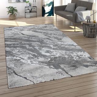 Teppich Wohnzimmer Kurzflor 3D Effekt Abstraktes Stein Muster Grau Anthrazit
