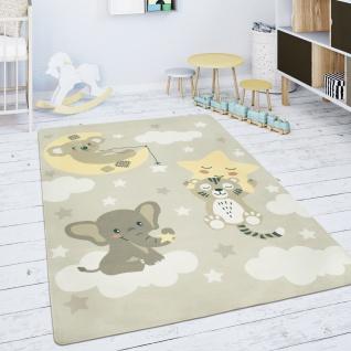Kinderteppich Teppich Kinderzimmer Spielmatte Stern Wolke Mond Beige Weiß
