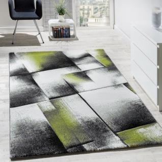 Designer Teppich Wohnzimmer Teppiche Kurzflor Meliert Grün Grau Creme Schwarz