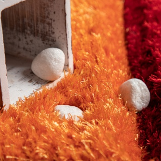 Hochflor Teppich Wohnzimmer Kinderzimmer Shaggy 3D Effekt Würfel Muster Bunt - Vorschau 3