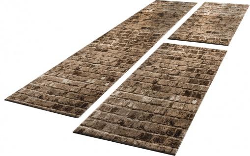 Bettumrandung 3 Tlg Designer Teppich Läufer Steinwand Optik in Braun Beige