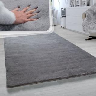 Hochflor Teppich Für Wohnzimmer Softes Kaninchenfell Imitat Kunstfell In Dunkelgrau - Vorschau 1