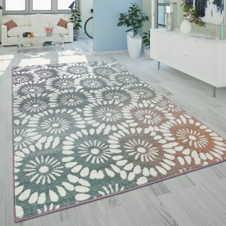 Kurzflor Wohnzimmer Teppich Pastell Abstraktes Florales Design Retro Mehrfarbig