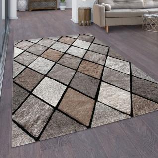 Teppich Wohnzimmer Rauten Muster Skandi 3D Optik Moderner Kurzflor Braun Beige