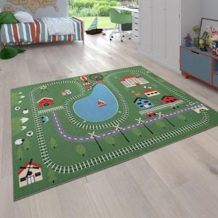 Kinder-Teppich, Spiel-Teppich F. Kinderzimmer Landschaft-Design Zug Und Gleise, Bunt