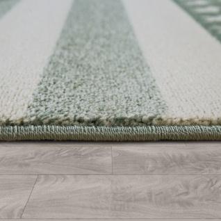 Kinderzimmer Teppich Grün Streifen Muster Pastell Stern Design Robust Kurzflor - Vorschau 2