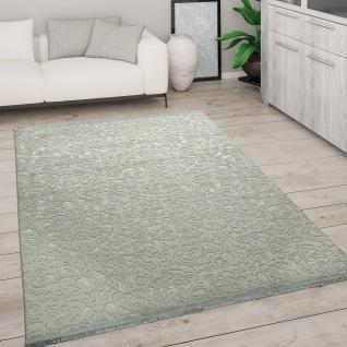 Teppich Wohnzimmer Kurzflor Modern Mit Fransen 3D Effekt Weich Ornamente Grün Grau