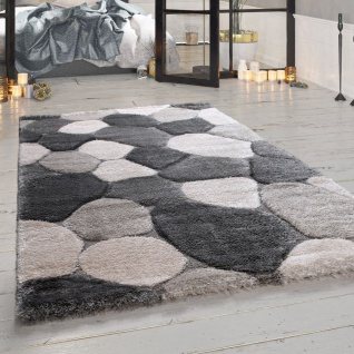 Hochflor Teppich Wohnzimmer Grau Stein Design Weich Gemütlich Shaggy Kuschelig