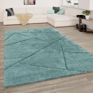Hochflor Teppich Wohnzimmer Grün Weich Shaggy Flauschig Abstraktes 3-D Muster