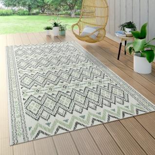 Outdoor Teppich Für Terrasse Und Balkon, Geometrisches Muster, Modern In Grün