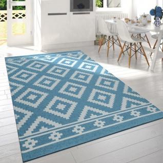 Teppich Wohnzimmer Türkis Weiß Skandi Muster Rauten Strapazierfähig Kurzflor