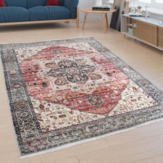 Teppich, Kurzflor Für Wohnzimmer Mit Bordüre, Orient-Design, In Rosa Bunt