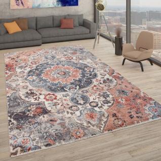 Teppich Mit Orientalischem Muster, Kurzflor-Teppich Für Wohnzimmer, In Bunt