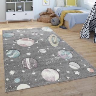 Kinder-Teppich, Spiel-Teppich Für Kinderzimmer, Mit Weltall-Motiv, Grün Blau