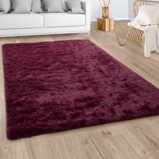 Hochflor Teppich Wohnzimmer Fellteppich Kunstfell Shaggy Flauschig Bordeaux Rot