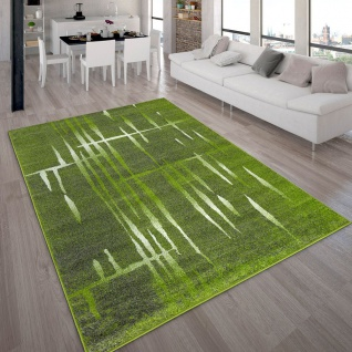 Designer Teppich Modern Trendiger Kurzflor Teppich Meliert in Grün Weiß