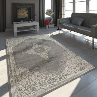 Orient Teppich Modern 3D Effekt Ornamente Meliert Grau Silber Weiß Schimmernd