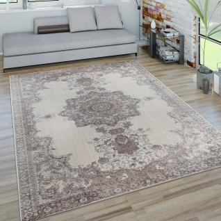 Teppich Wohnzimmer Kurzflor 3D Modern Orientalisches Muster Bordüre Creme Grau
