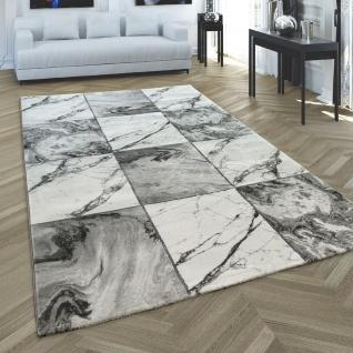 Teppich Grau Silber Wohnzimmer Schlafzimmer Rauten Marmor Muster Kurzflor Robust