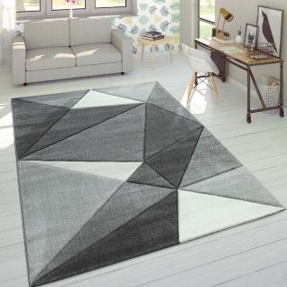 Designer Teppich Moderner Konturenschnitt Trendige Dreiecke Grau Weiß