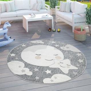 Kinderteppich Kinderzimmer Outdoorteppich Rund Spielteppich 3D Effekt Mond Grau
