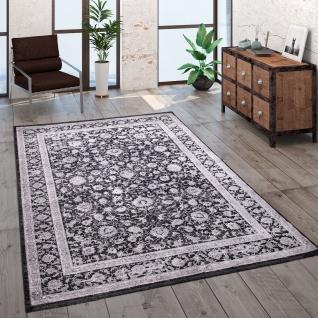Teppich Wohnzimmer Kurzflor Orient Muster Bordüre Vintage Grau