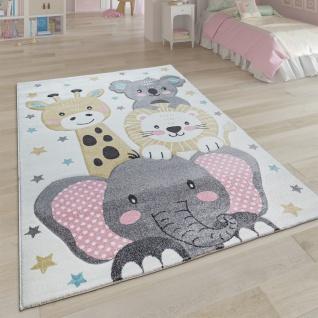 Kinderteppich Teppich Kinderzimmer Kurzflor Mädchen Jungs Sterne Tier Creme Grau
