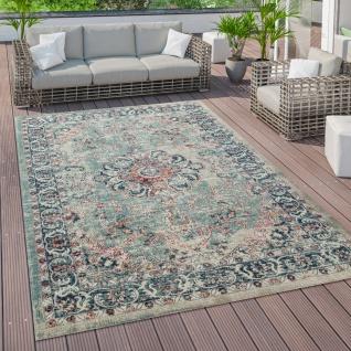 Outdoor Teppich Küchenteppich Balkon Terrasse Vintage Orient Muster Rot Blau Beige