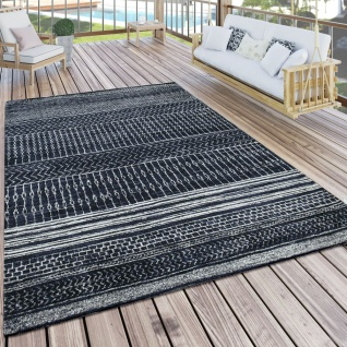 In- & Outdoor Teppich Skandi Mustermix Terrassen Teppich Schwarz