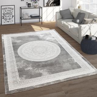 Teppich Wohnzimmer Im Vintage Barock Stil Mit Blumen Muster Kurzflor, In Grau