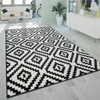 Kurzflor Teppich Schwarz Weiß Wohnzimmer Ethno-Look Design Rauten Muster