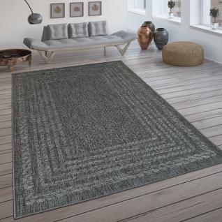 In- & Outdoor-Teppich, Flachgewebe Mit Skandi-Muster Und Sisal-Look In Grau