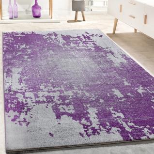 Designer Teppich Wohnzimmer Vintage Mit Splash Muster In Grau Lila Meliert