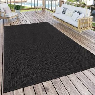 Outdoor Teppich Für Terrasse Und Balkon Küchenteppich Einfarbig Modern Schwarz
