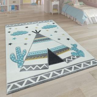 Kinder-Teppich, Kinderzimmer Pastell Farben, Indianer-Zelt Motiv 3-D, in Cream Grau