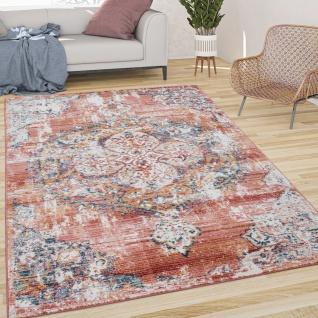 Teppich Wohnzimmer Kurzflor Vintage Moderne Orient Optik Abstrakt Rot Creme Blau