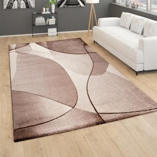 Teppich Wohnzimmer Kurzflor 3D Effekt Modernes Abstraktes Muster Geometrisch Braun