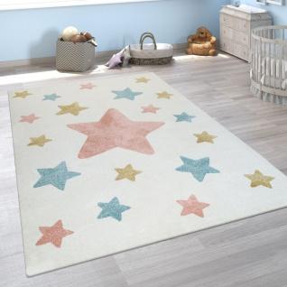 Kinderzimmer Teppich Beige Bunt Pastellfarben 3-D Stern Design Niedlich Weich