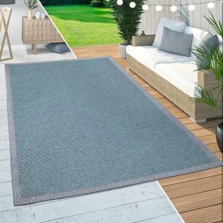 In-& Outdoor Teppich Balkon Terrasse Küchenteppich Bordüren Design Türkis
