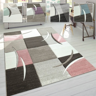 Wohnzimmer Teppich In Modernen Pastell Farben, Karo Muster m. 3D Effekt