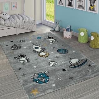 Kinderteppich Jungen Mädchen Grau Kinderzimmer Kurflor Weltall Astronaut