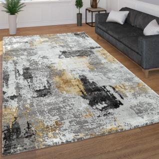 Moderner Kurzflor Wohnzimmer Teppich 3D Optik Abstraktes Muster In Grau Gelb