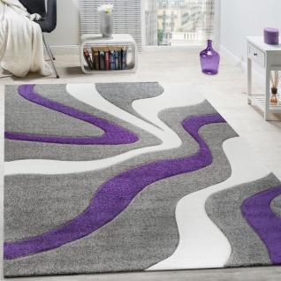 Designer Teppich Modern Abstrakt Wellen Optik Konturenschnitt In Lila