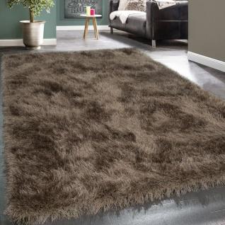 Shaggy Hochflor Teppich Modern Soft Garn Mit Glitzer In Uni Braun Beige