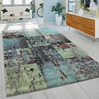 Designer Teppich Modern Wohnzimmer Ölgemälde Abstrakt Rost Optik In Grün Schwarz